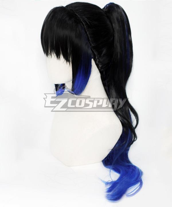 Demon Slayer: Kimetsu No Yaiba Inosuke Hashibira Black Blue Long Female Cosplay Wig