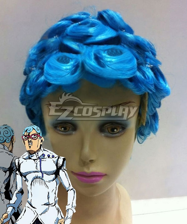 JoJo's Bizarre Adventure: Vento Aureo Golden Wind Ghiaccio Blue Cosplay Wig