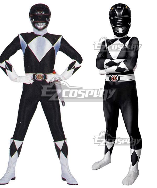 Kids Power Rangers zack black ranger Zentai Jumpsuit Cosplay Costume