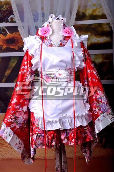 Kimono Design Printing Maid Dress Cosplay Costume-Y536