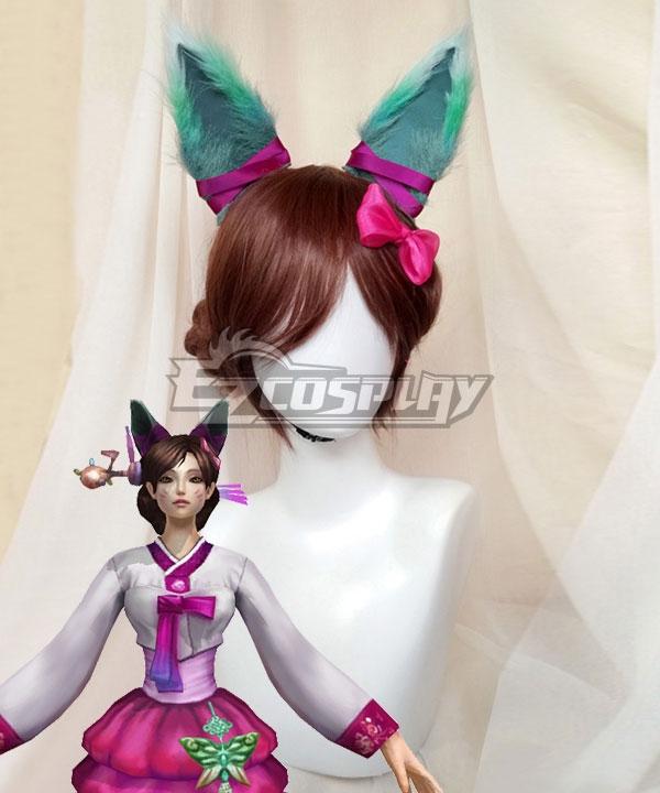 League Of Legends LOL Ahri the Nine-Tailed Fox Dynasty Ahri Brown Cosplay Wig - Wig + Ears