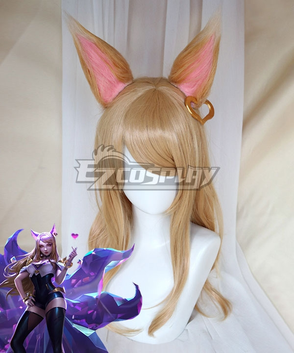 League Of Legends LOL KDA K/DA Ahri Brown Cosplay Wig - Wig + Ears