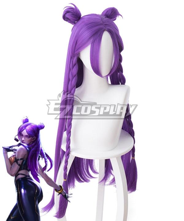 League Of Legends LOL KDA K/DA Kai'Sa Dark Purple Cosplay Wig - 458E