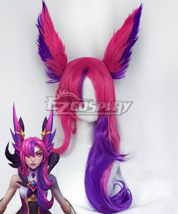 League of Legends LOL Star Guardian 2019 Xayah Pink Purple Cosplay Wig