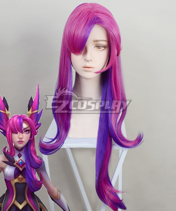 League of Legends LOL Star Guardian 2019 Xayah Purple Red Cosplay Wig