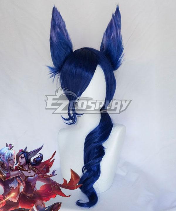 League of Legends LOL The Rebel Sweetheart Xayah Blue Cosplay Wig (Wig +Ears)
