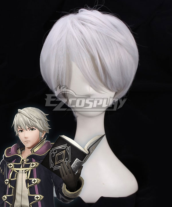 Fire Emblem: Awakening Male Robin Silver White Cosplay Wig