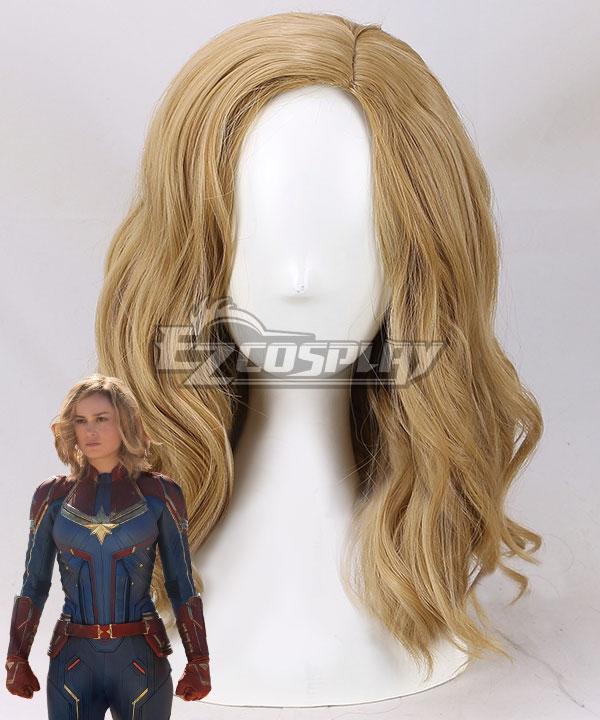 Marvel 2019 Movie Captain Marvel Carol Danvers Golden Brown Cosplay Wig