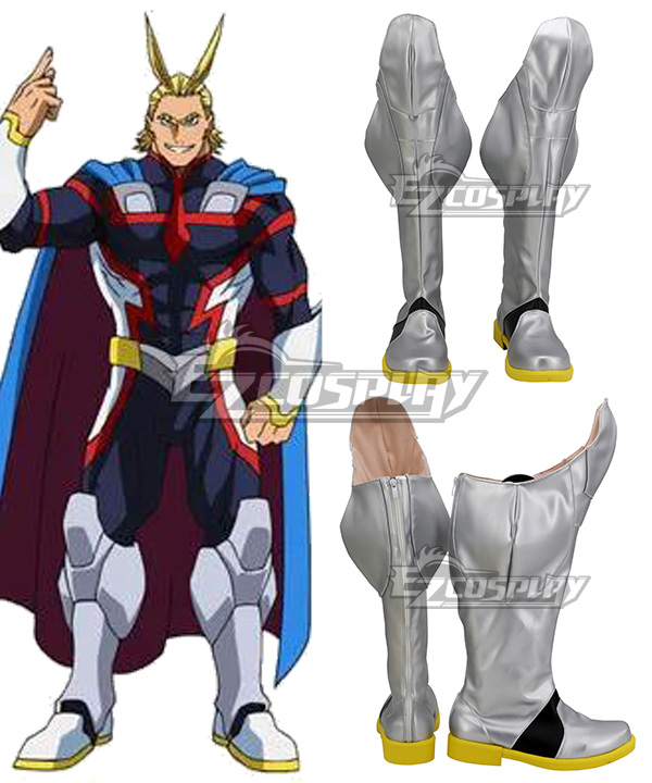 My Hero Academia: Two Heroes Boku No Hero Akademia Allmight All Might Toshinori Yagi Sliver Shoes Cosplay Boots