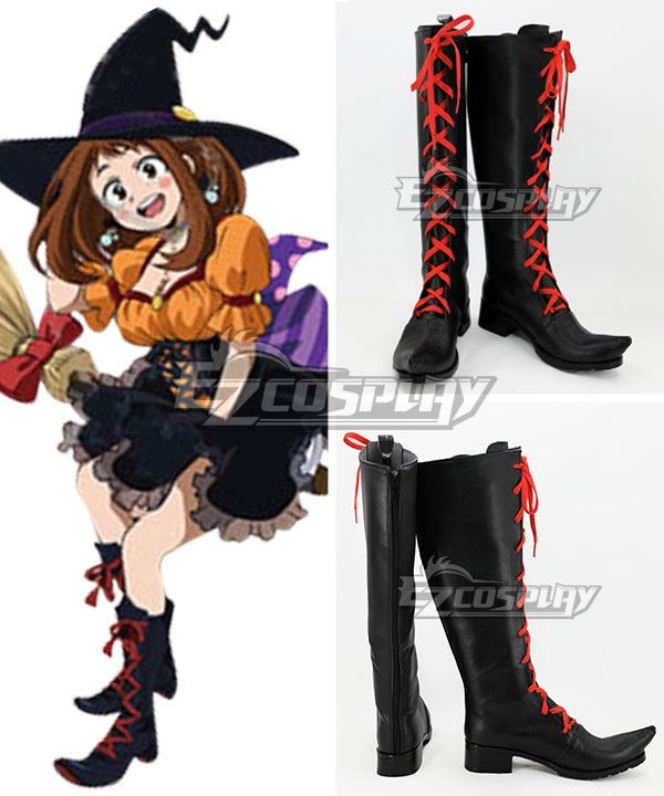 My Hero Academia Boku no Hero Akademia Ochako Uraraka Halloween Black Shoes Cosplay Boots