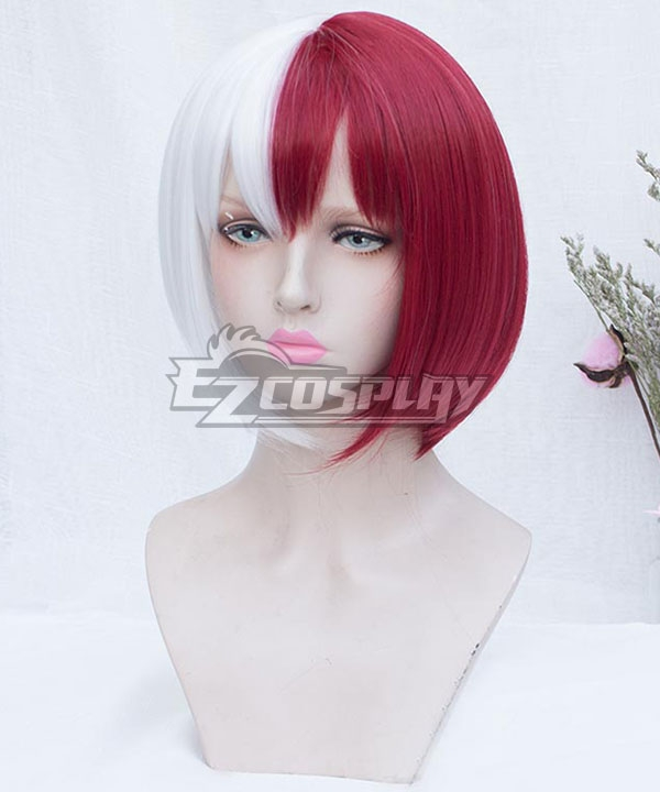 My Hero Academia Boku No Hero Akademia Shoto Todoroki Female Red White Short Cosplay Wig