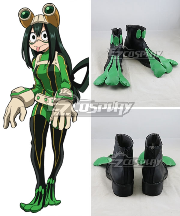 My Hero Academia Boku No Hero Akademia Tsuyu Asui Black Green Cosplay Shoes