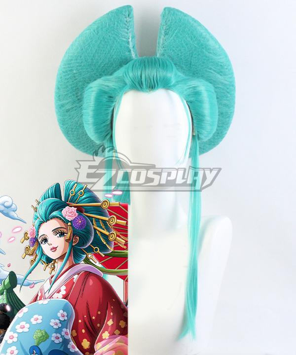 One Piece Kozuki Hiyori Green Cosplay Wig