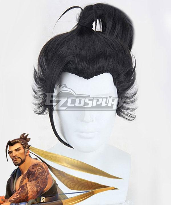 Overwatch OW Hanzo Shimada Black Cosplay Wig