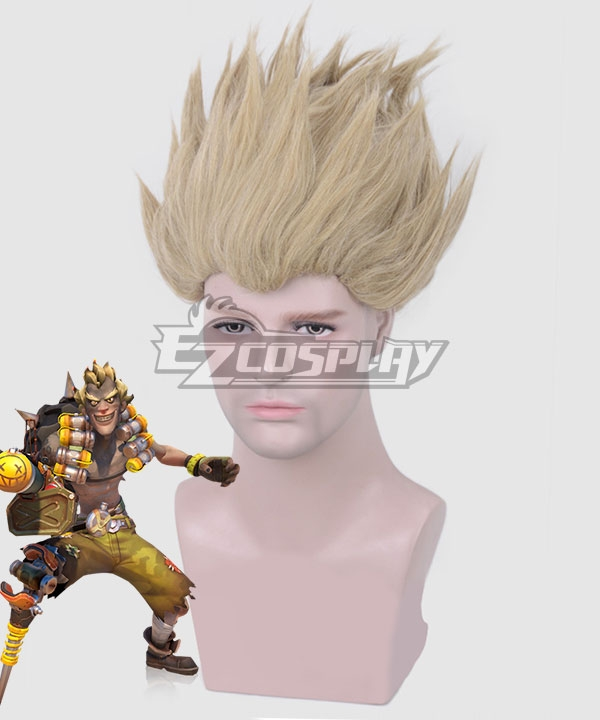 Overwatch OW Junkrat Jamison Fawkes Multicolor Brown Gray Cosplay Wig