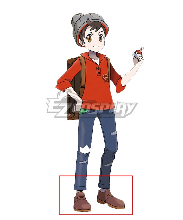 Pokemon Pokmon Sword And Pokmon Shield Male Trainer Brown Cosplay Shoes