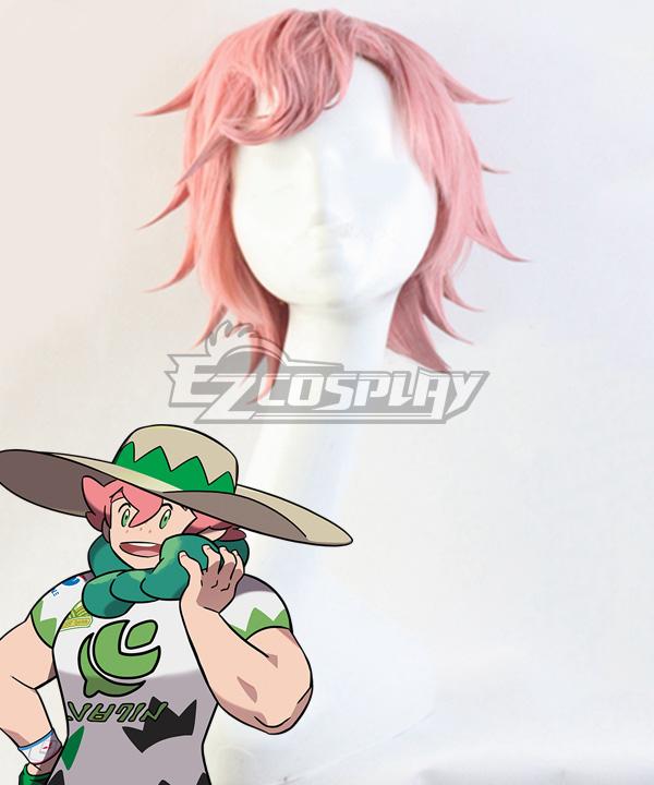 Pokemon Pokémon Sword And Shield Milo Pink Red Cosplay Wig