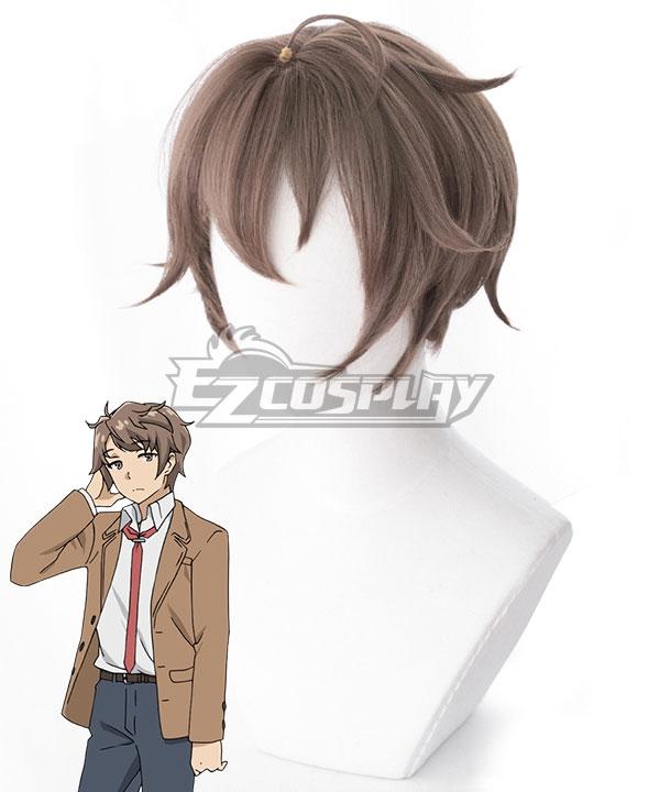 Seishun Buta Yaro wa Bunny Girl-senpai no Yume o Minai Sakuta Azusagawa Light Brown Cosplay Wig