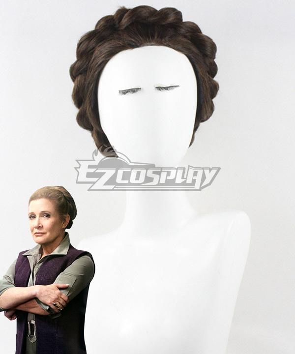 Star Wars Episode 7 The Force Awakens General Leia Organa Brown Cosplay Wig