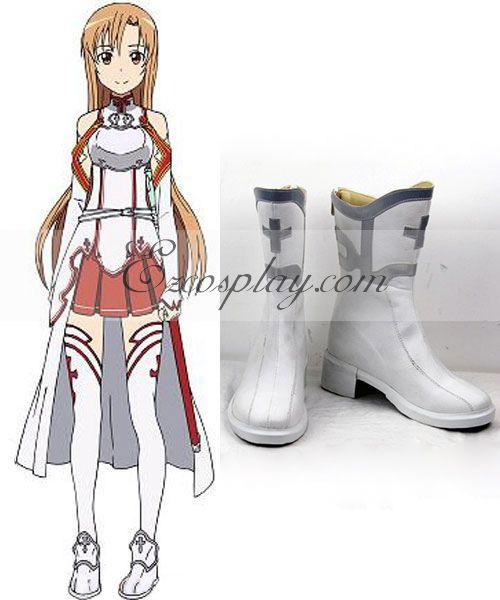 Sword Art Online SAO Sodo Ato Onrain Knights of the Blood Lambent Light Yuuki Asuna Yuki Asuna Asuna Yuki Flat White Shoes Cosplay Boots