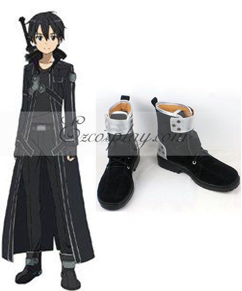 Sword Art Online SAO Sodo Ato Onrain Dull Polish Kirigaya Kazuto Kirito Flat Shoes Black And Silver Cosplay Shoes