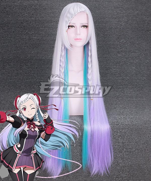 Sword Art Online Ordinal Scale Yuna Movie Purple Blue White Multicolor Cosplay Wig