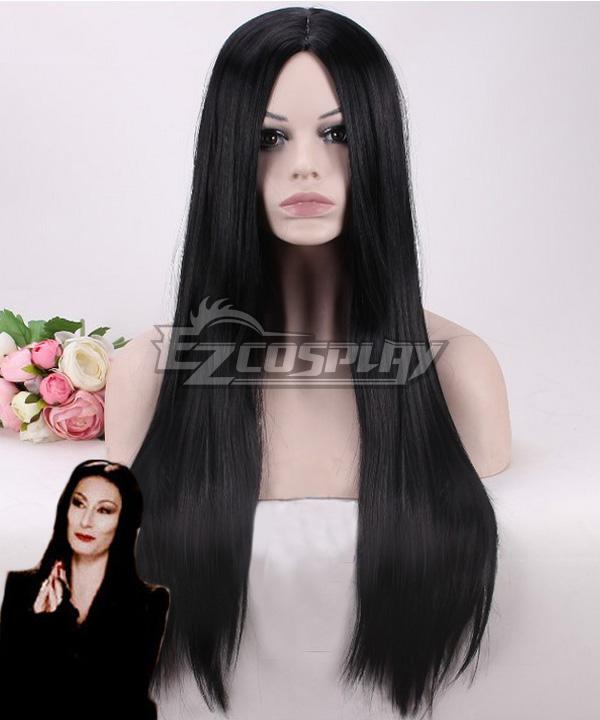 The Addams Family Morticia Addams Black Cosplay Wig