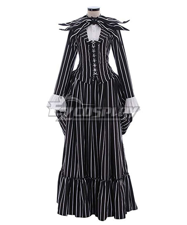 1900s, 1910s, WW1, Titanic Costumes The Nightmare Before Christmas Female Jack Skellington Dress Halloween Cosplay Costume $91.99 AT vintagedancer.com