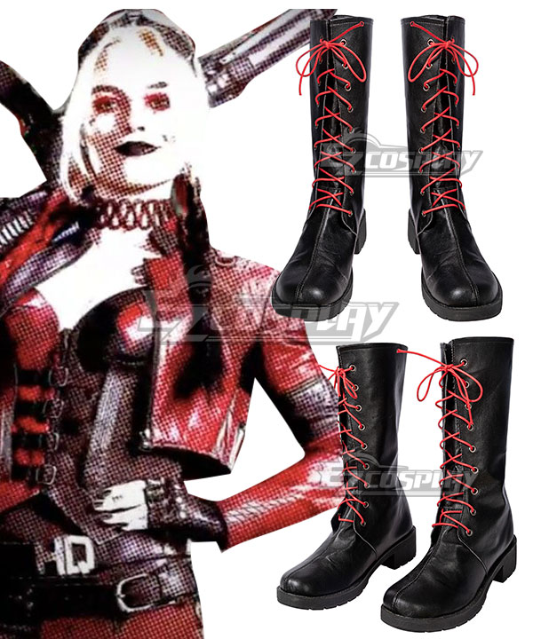 The Suicide Squad Harley Quinn 2021 Movie Black Shoes Cosplay Boots