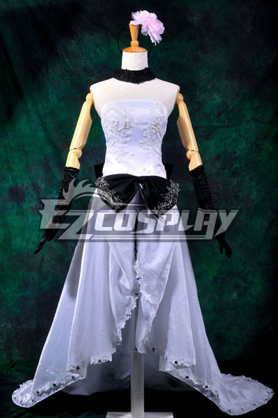 Vocaloid Megurine Ruka White Long Dress Cosplay Costume