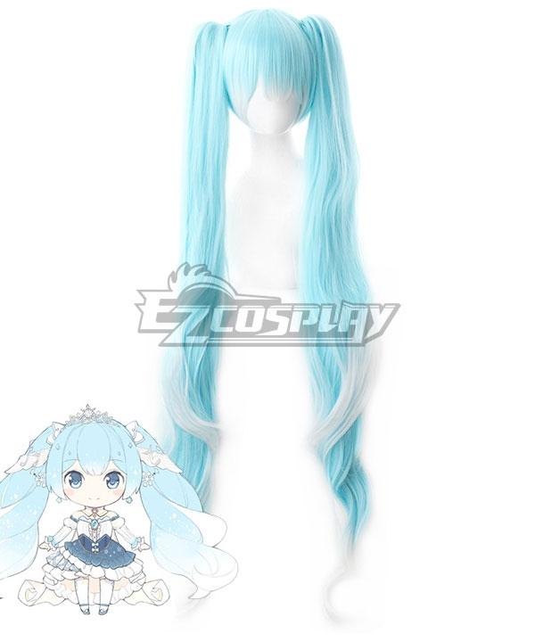 Vocaloid Snow Miku 2019 Gradient Light Blue White Curls Cosplay Wig - 042R