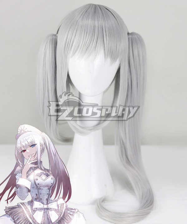 Date A Bullet Date A Live White Queen Kurumi Tokisaki Nightmare Wthie Dress Silver Grey Cosplay Wig