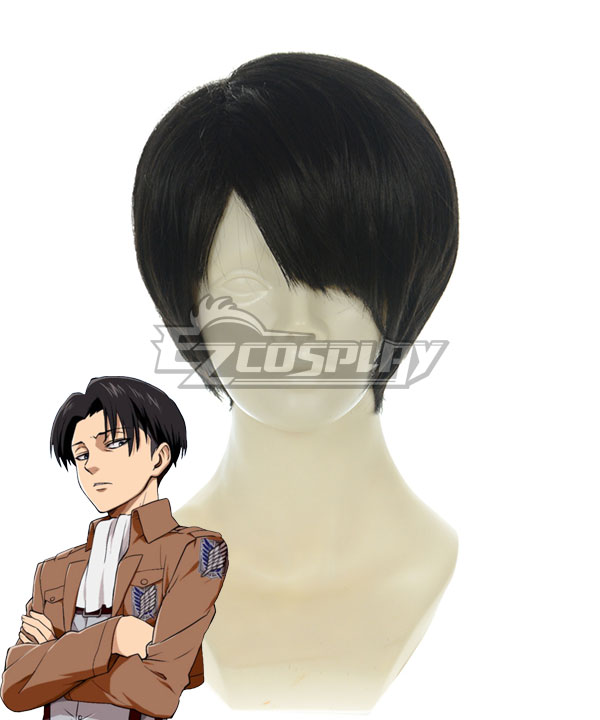 Attack on Titan Shingeki no Kyojin Levi Ackerman Rivai Akkaman Scout Regiment Black Hair Cosplay Wig
