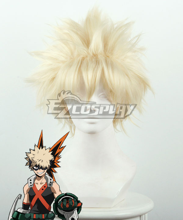 My Hero Academia Boku no Hero Akademia Katsuki Bakugou Yellow Cosplay Wig 445C